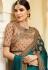 Teal Color Barfi silk saree Indian wedding saree double blouse