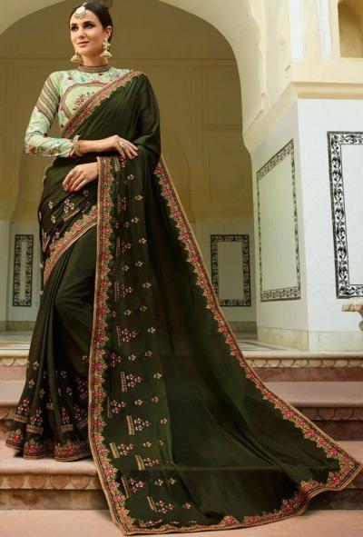 Mehandi Barfi silk saree Indian wedding saree double blouse
