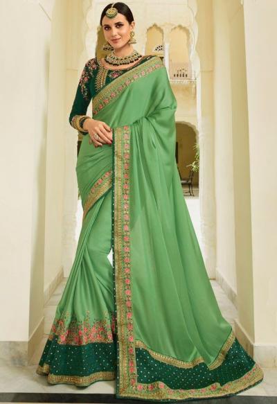 Green Color Barfi silk saree Indian wedding saree double blouse