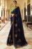 Royal blue Barfi silk saree Indian wedding saree double blouse