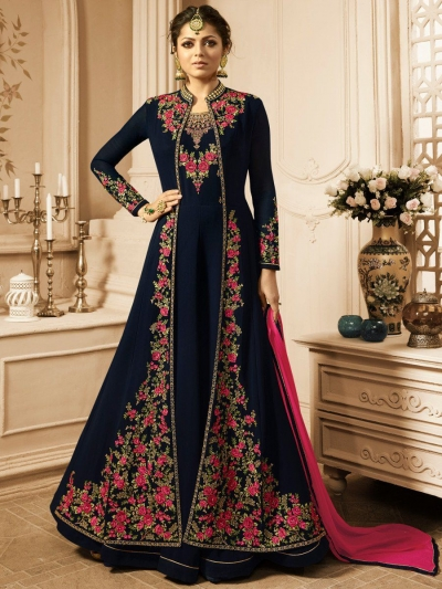 Drashti Dhami Blue color vaishnavi georgette wedding anarkali