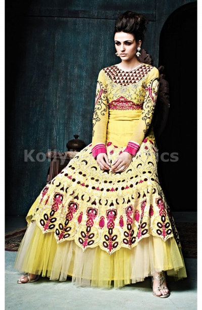 Yellow Georgette Weddingwear Semi-Stitched Floor Length Suit