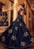 Navy blue silk Indian gown style wedding anarkali