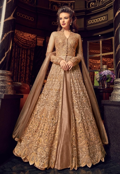 Gold color net and silk wedding lehenga kameez 2 in 1 style