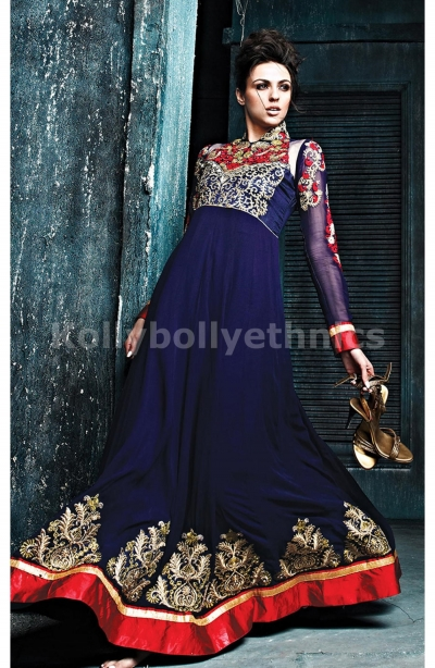 Sizzling Blue Georgette Weddingwear Semi-Stitched Floor Length Suit