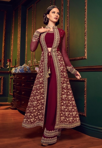 Maroon color georgette Indian wedding Palazzo suit