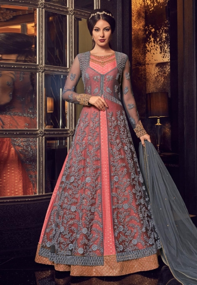 Grey and pink net and chanderi Indian Jacket style anarkali