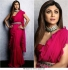 Bollywood Shilpa Shetty Pink Georgette Ruffle saree