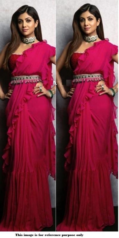 Bollywood Shilpa Shetty Pink Georgette Ruffle saree