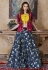 Navy blue Silk Indian wedding lehenga choli