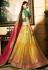 Mustuard green and red Indian wedding Banarasi silk Lehenga