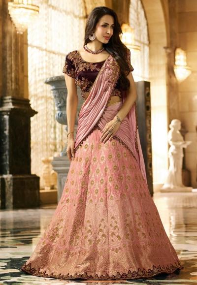 Malaika Arora Khan Pink Banarasi Indian wedding lehenga