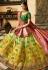 Green and yellow shaded banarasi silk Indian wedding lehenga