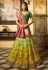 Green and yellow shaded banarasi silk Indian wedding lehenga