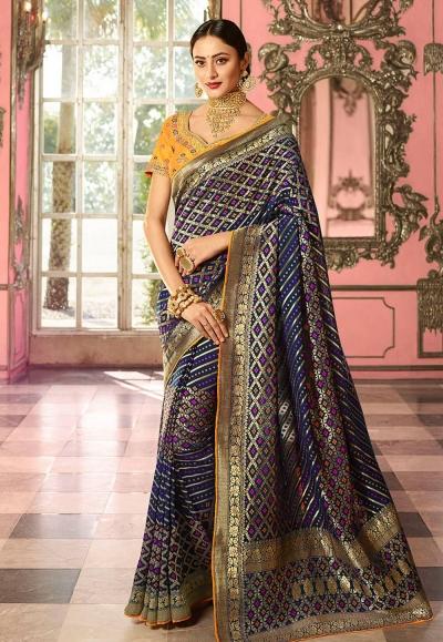Navy blue and yellow Indian wedding Silk Saree
