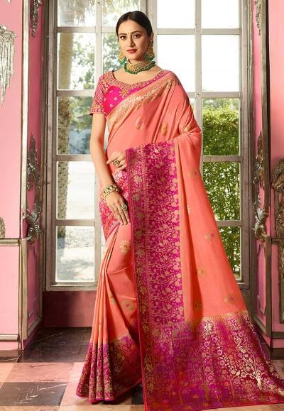 Pink Indian wedding silk Saree