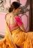 Yellow and pink Indian wedding silk Saree