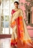 Off white and red Indian Wedding silk saree