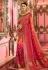 Red and peach Indian wedding silk Saree