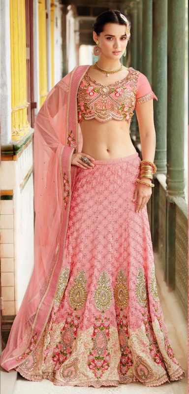 Pink Banarasi Silk Designer Lehenga Choli