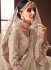 Beige Pure organza silk Indian wedding lehenga