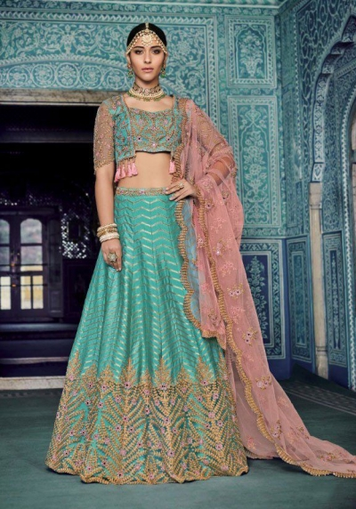 Blue color silk Indian wedding lehenga