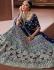 Navy blue apple silk Indian wedding lehenga