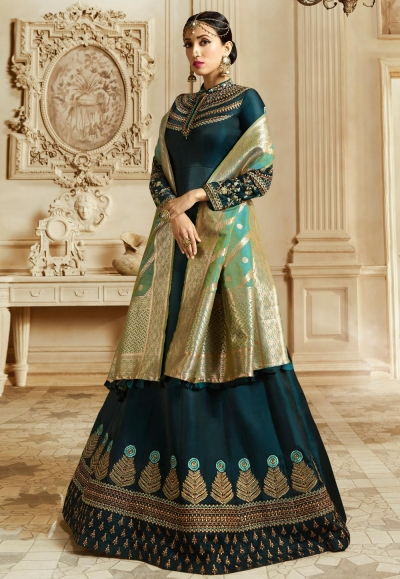Cyan Blue barfi silk Indian Wedding anarkali