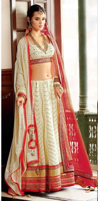 Excellent Off White Net Designer Lehenga Choli
