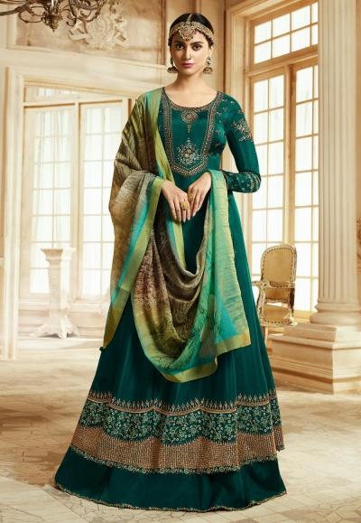 Green Barfi Silk Indian Wedding anarkali