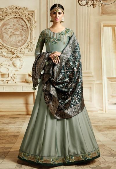 Grey Crystal georgette silk Indian Wedding anarkali