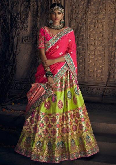 Lime green Banarasi siilk Indian wedding lehenga