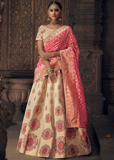 Cream and pink banarasi silk Indian wedding lehenga