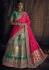 Green and pink banarasi silk Indian wedding lehenga