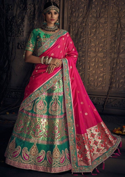 Green and pink banarasi silk Indian wedding lehenga