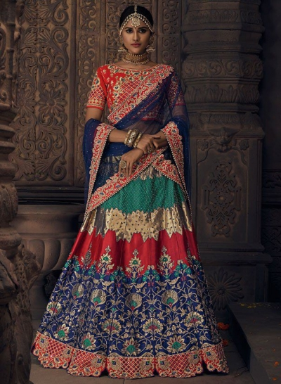 Navy blue banarasi  silk Indian wedding lehenga