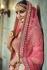 Pink and yellow handloom silk Indian wedding lehenga