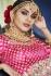 Peach and chickoo Handloom silk Indian wedding lehenga