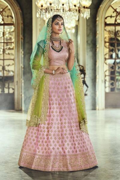Light pink satin silk Indian wedding lehenga
