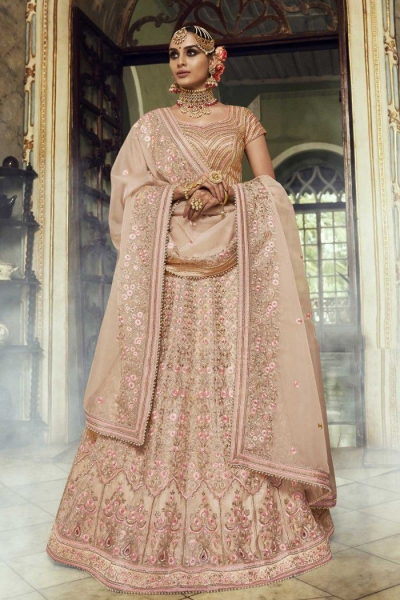 Beige color organza silk Indian wedding lehenga