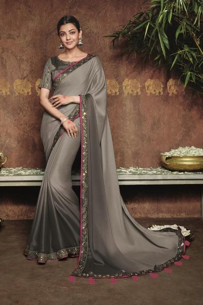 kajal aggarwal gray colour saree 2186