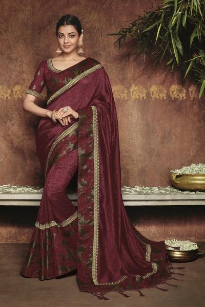 kajal aggarwal dark maroon colour 1222KM