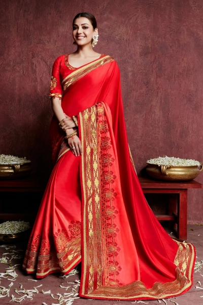 kajal aggarwal bright red colour 1229KM