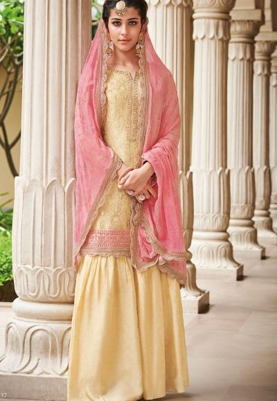 Cream Dola Silk Sharara Style Pakistani Suit 37