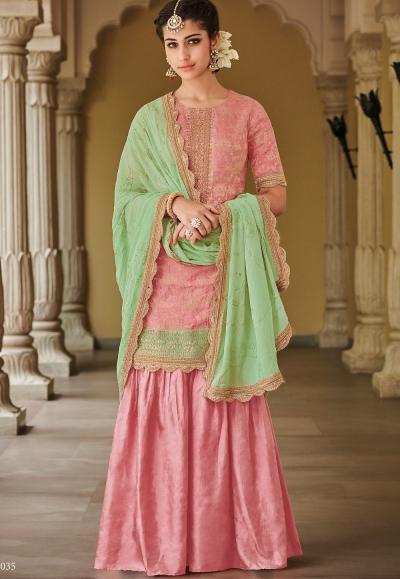 Pink Dola Silk Sharara Style Pakistani Suit 35