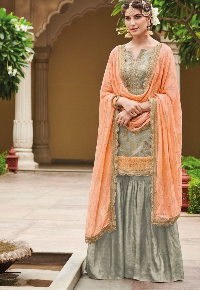 Grey Dola Silk Sharara Style Pakistani Suit 34