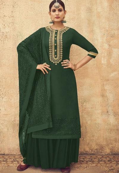 Green Pure Silk Sharara Style Pakistani Suit 46