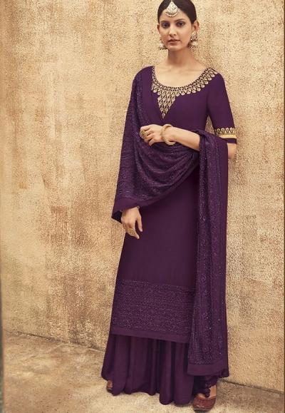 Mauve Pure Silk Sharara Style Pakistani Suit 41