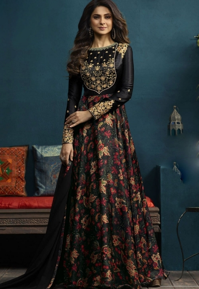Jennifer Winget Black Satin Silk Long Anarkali Suit 5021