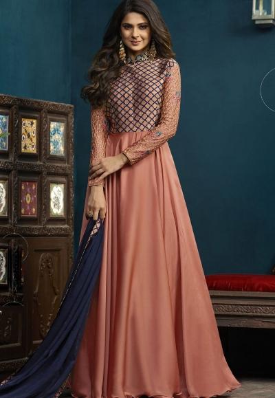 Jennifer Winget Peach Silky Georgette Floor Length Anarkali Suit 5020